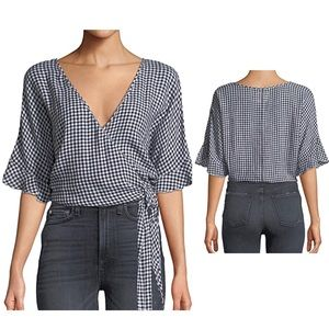 Anthro RAILS 'Athena' Gingham Wrap Tie Blouse L